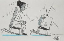 Image of [Older African American woman rocking in a rocking chair keeping time with a television on rockers] - Bilko