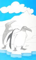 Image of [Penguin helping another penguin with his coat] - Spahr, Jurg, 1925-2002