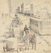 Image of [Trolley car, horse and buggy, buggies parked by the sidewalk] - Levering, Albert, 1869-1929