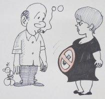 Image of [Man smoking beside a pregnant woman with a no-smoking symbol on her dress] - Gaber, Tarek Mohsen, 1979-