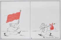 Image of [Excited man with red flag] - Papuc, Constantin