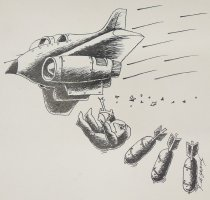 Image of [Bomber dropping a pilot and three missiles] - Kazanchev, Konstantin. A.