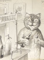 Image of [Grinning cat pouring himself a drink] - Lutz, Edwin G.