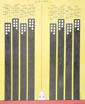 Image of [Skyscrapers with short aerials, small house with tall aerial] - Cakmak, Huseyin, 1964-