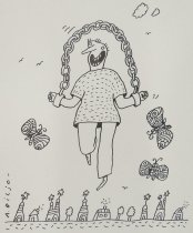 Image of [Figure skipping, hands manacled to a rope of chain, butterflies flutter around] - Biljo, Andrew
