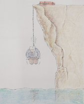 Image of [Man with empty pockets hanging himself off a cliff, rope attached to a suitcase] - Anjomrooz, Sepideh