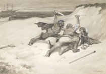 Image of [Pirates attacking a nobleman with knives, ship in background] - Kahles, C.W., 1878-1931
