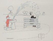 Image of [Boy sprays water on man on a park bench] - Ridgeway, Frank, 1930-1994