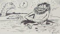 Image of [Caveman bathing, dinosaur looks on] - Miller, Ed