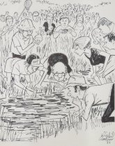 Image of [Crowd of people gathering around pond] - Mortimer, James Winslow, 1919-1998
