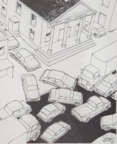 Image of [Cars nearly colliding] - Mortimer, James Winslow, 1919-1998