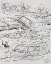 Image of [Cars sinking in river with woman yelling] - Mortimer, James Winslow, 1919-1998