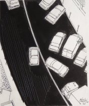 Image of [Cars leaving parking lot] - Mortimer, James Winslow, 1919-1998