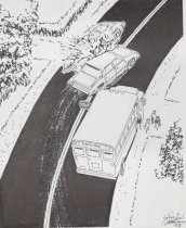 Image of [Cars colliding and school bus] - Mortimer, James Winslow, 1919-1998