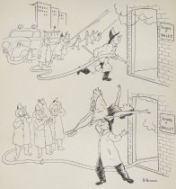 Image of [Firemen extinguishing a fire at a ballet school. Fireman in a Pas De Deux with a ballerina] - Brown, Bo, 1906-1996