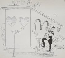 Image of [Groom carrying bride over the threshold of their new home with heart shaped doors and windows] - Pascal, David, 1918-2003