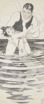 Image of [Woman in bathing costume panicking in shallow water, holding on to man rescuing her] - Hays, Ethel, 1892-1989