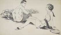 Image of [Couple sitting on the grass, woman with a tennis racquet, man with a black eye] - Hays, Ethel, 1892-1989