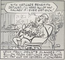 """Image of """"With Medicare benefits reduced, I'll need all of my salary if I ever get sick!"""" - Garrity, Martin, 1916-1990"""