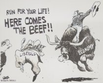 """Image of """"Run for you life! Here comes the beef!!"""" - Wells, Clyde, 1934-"""