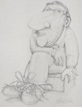 Image of [Caricature of man watching the Festival of Cartoon Art] - Adamson, Gary, 1930-