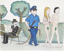 Image of [Adam and Eve getting kicked out of a park] - Galindo, Felipe, 1957-