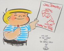 Image of ['Family Circus' character Billy holds up a caricature of Jack Dempsey] - Keane, Bil, 1922-2011