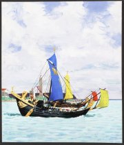 Image of [Ancient vessel with blue sail] - Sickles, Noel, 1910-1982