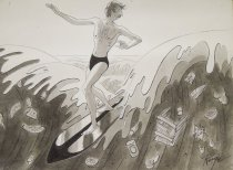 Image of [Man surfing on a wave full of garbage] - Ruge, John, 1915-