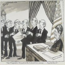 """Image of """"Our proposal to streamline the federal bureaucracy...pass it down!"""" - Szep, Paul, 1941-"""