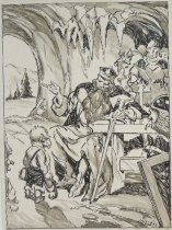 Image of [King with sword and elf in a cave] - Miller, Frank, 1898-1949