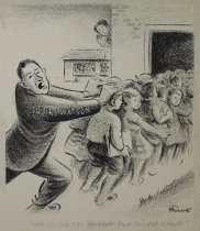 """Image of """"Let's cut out this 'haranque' about crowded schools"""" - Bissell, Charles, 1908-2000"""