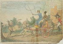 Image of Mrs. Clarke driving her ponies.  Vide Chapter of Donkies.  If it was'nt for Asses pray what would she do.  verse 5th - Williams, Charles, fl. 1797-1830