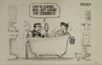 Image of Don't be alarmed, miss.  Just looking for terrorists. - Beeler, Nate, 1980?-