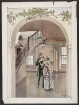 Image of [Couple by staircase] - Keller, Arthur Ignatius, 1866-1924