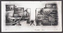 Image of [Man pinned between two huge machines] - Vanderbeek, Donald William, 1949-2014