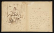 """Image of [Letter from Bud Fisher to his father with self portrait sketch] - Fisher, Harry Conway """"Bud"""", 1885-1954"""