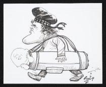 Image of [Paul Szep carrying Charlie Brown in a golf club bag] - Szep, Paul, 1941-