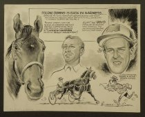 Image of Pocono Downs in back in harness...  - Harsh, Lew, 1911-1982
