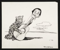 Image of [Cheetah playing a guitar. Salvadore Dali's head is the guitar head] - Brooks, Dick, 1917-