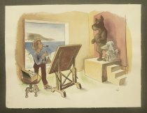 Image of [Artist painting two dogs] - Partch, Virgil, 1916-1984