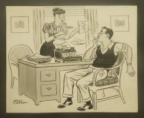 Image of [Agitated woman reading typed pages, smoking man looking on] - Casson, Mel, 1920-2008