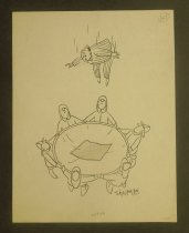 Image of [Man in pajamas jumps into a patched lifenet held by firefighters] - Shirvanian, Vahan, 1925-