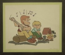 Image of [Unmusical singer with young boy by a campfire] - Sprague, Andrew, b. 1921