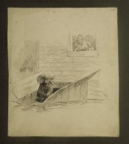 Image of [Older woman speaking from a window to an older man carrying a barrel into a basement]  - Griffin, Sydney B., 1854-1910?