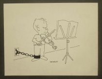 Image of [Boy chained to wall with legcuff practicing the violin] - Norment, John, 1911-1988