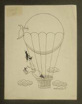 Image of [French? man aims pistol at bird pecking his balloon] - Norment, John, 1911-1988