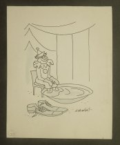 Image of [Clown soaking his feet in a tub of water] - Norment, John, 1911-1988