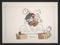 Image of [Popeye ready to jump on a golf stick, Sweet Pea looks on] - Sagendorf, Bud, 1915-1994