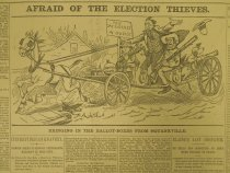 Image of Afraid Of The Election Theives. Bringing In The Ballot-Boxes From Squanxville. - McDougall, Walter, 1858-1938